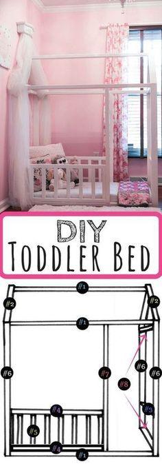 Toddler house bed - DIY Toddler Bed Leggings 'N' Lattes Toddler Floor Bed, Diy Toddler Bed, Toddler House Bed, Toddler Rooms, Baby Bedroom, Kids Bedroom, Girl Toddler Bedroom, Princess Toddler Bed, Bedroom Ideas