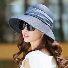 Fashion packable wide brim straw hat for women UV protection