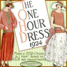 1920's 1 HOUR Dress make Your own frock par eVINTAGEpatterns, $4.99
