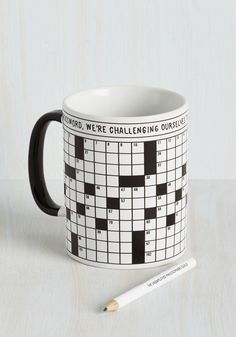 A Way With Crosswords Mug. Completing crossword puzzles in the newspaper is a breeze when you can warm up with this ceramic coffee mug! #multi #modcloth