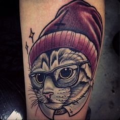 Start a Custom Tattoo Design Contest - Host your own Custom Tattoo Design Contest! Describe your Tattoo Design Idea and get unique Custom Tattoo Designs to choose from! Hipster Tattoo, Cute Cat Tattoo, Cute Tattoos, Glasses Tattoo, Front Shoulder Tattoos, Cat Tattoo Designs, Forearm Tattoo Design, Schulter Tattoo, Oldschool