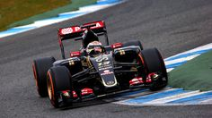 The new Lotus E23 has started running earlier than expected in pre-season testing, with Pastor Maldonado completing the Mercedes-powered car's first installation lap at Jerez.