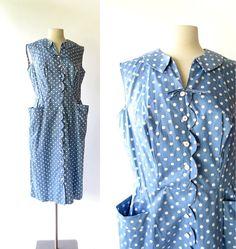 50s Polka Dot Dress / Vintage 1950s Dress / by SmallEarthVintage, $72.00
