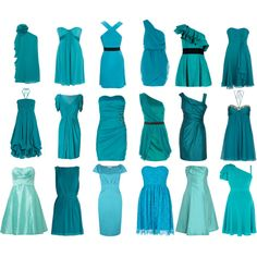 """bridesmaids in shades of aqua"" by jennielikesit on Polyvore"