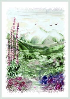 Bergpad geschilderd met bijenwas door Beika Kruid
