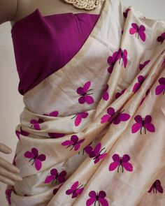 Latest New Designer Casual Party Ceremony Wear Fancy New Summer Ethnic Wear Collection 2018 Embroidered Butterfly Titli Pure Chanderi Cotton Silk Saree With Unstitched Blouse Piece (Color: Pink) Chanderi Silk Saree, Silk Cotton Sarees, Cotton Silk, Ethnic Outfits, Indian Outfits, Indian Attire, Saree Painting Designs, Embroidery Saree, Hand Embroidery