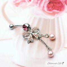Bauchnabel Piercing rosa Perle mit  Schleife 316 L...