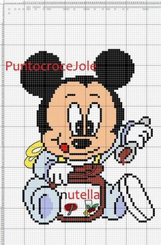 Mickey Mouse with nutella x-stitch