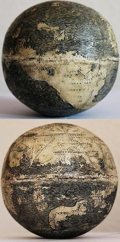 The Oldest Know Globe to Depict the Americas -- Etched on the lower halves of two ostrich eggs -- Circa 1504 -- Scientists say the engraver was influenced by or worked in the workshop of Leonardo da Vinci.