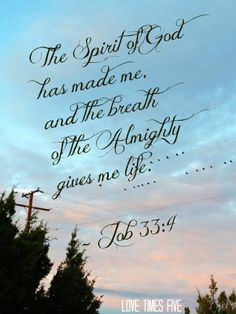 """Blog post from Love Times Five about breathing in the Fruits of the Spirit...""""The Spirit of God has made me, and the breath of the Almighty gives me life."""" - Job 33:4"""