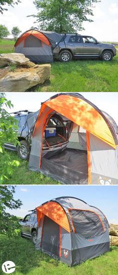 This SUV tent is an economical alternative to a camper. It connects right up to your vehicle, adding more living and sleeping space while you camp. The alligator clamp allows easy removal of the tent when you want to use your SUV. Sleeps up to 4 adults. Truck Camping, Camping Games, Camping Equipment, Camping Ideas, Camping Guide, Camping Trailers, Camping Checklist, Camping Stuff, Minivan Camping