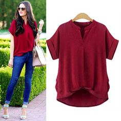 Plus Size V-neck Pure Color Short Sleeves Blouse