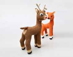 Rudolph The Rednosed Reindeer Free Amigurumi Pattern Modification Crochet Christmas Gifts, Christmas Crochet Patterns, Crochet Gifts, Crochet Dolls, Crochet Deer, Crochet Animals, Rudolph The Rednosed Reindeer, Rena, Stuffed Animal Patterns