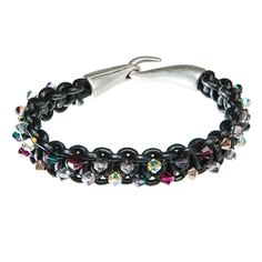 Black leather bracelet with purple, gold and clear Swarovski crystal