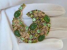 Vintage Green Rhinestone Paisley Brooch by CarriersCozyCottage, $24.95