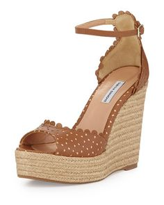 Harp Perforated Scalloped Leather Wedge, Brown by Tabitha Simmons at Bergdorf Goodman.