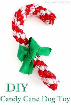 2 DIY Christmas Dog Toys: Christmas Wreath & Candy Cane Dog Toy – Sew Historically – Famous Last Words Dog Christmas Gifts, Christmas Animals, Christmas Cats, Christmas Wreaths, Christmas Things, Homemade Dog Toys, Diy Dog Toys, Cat Toys, Toy Puppies