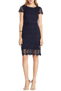 Women's Fashion Trendy Lace Floral Crochet Classic Layer Dress Navy S