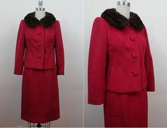 vintage 1960s suit / 60s red suit / fur collar by livinvintageshop