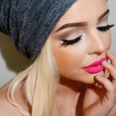 """Beautiful Barbie! Re-create this look with #EYELASHI in """"SEDUCER"""" double stacked #mink #lashes #luxury #crueltyfree #eyelashes #barbiedoll #MUA #blonde #pinklips #perfectbrows"""