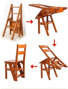 Folding Wooden Stool, Folding Beds, Wooden Stools, Kitchen Step Stool, Kitchen Step Ladder, Ladder Chair, Apartment Walls, Wood Steps, Table Shelves