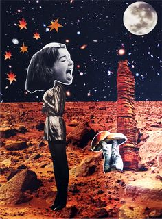 MARS SUR LA LUNE #collage #artwork #diy #surrealism #collagist #contemporary #art #melody_a_dit #mars #bkork #analog