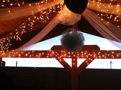 Beautiful outdoor reception decor with Tull and lights. Tulle Decorations, Reception Decorations, Our Wedding, Wedding Ideas, Decorating With Christmas Lights, White Light, Holiday Ideas, Outdoor, Beautiful