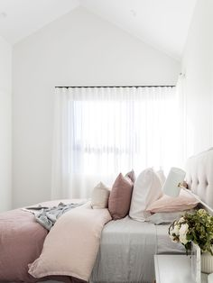 The master bedroom is the sanctuary in your home. Check out how Catherine Heraghty styled her forever master bedroom vs. her investment one. Curtains Vs Blinds, Sheer Curtains Bedroom, Bedroom Windows, White Curtains, Bedroom Window Coverings, Window Treatments, Rustic Master Bedroom, Home Decor Bedroom, Bedroom Wall