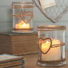 Glass Candle Holder With Rope Heart - lights & lanterns Hurricane Candle Holders, Candle Lanterns, Candle Jars, Christmas Gift Guide, Christmas Home, Christmas Gifts, Bougie Partylite, Ideal Home Show, Mason Jar Crafts