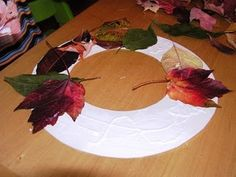 Fall wreath - also use styrofoam wreath and the children pin the leaves - great fine motor