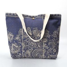 blue cotton linen shopping bags ladies tote bags