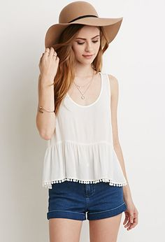 Pom-Pom Trim Crinkled Top | Forever 21 - 2000130897**love this entire outfit
