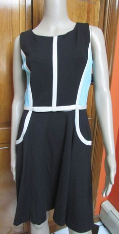 Taylor Color Block Dress Blue Black & White NWT Size 6 #Taylor