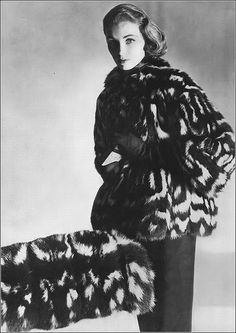 Suzy Parker in black and white civet cat fur coat and muff by Harold J. Rubin, photo by Horst, Vogue, December 1951 White Fashion, Retro Fashion, Vintage Fashion, Vintage Glam, Vintage Models, Dorian Leigh, Suzy Parker, Fashion Images, Fashion Photography