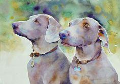 Weimeraners by Yvonne Joyner Watercolor ~  x