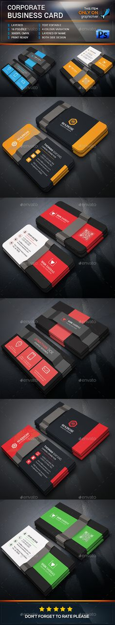 Creative Business Card Bundle Template PSD #visitcard #design Download: http://graphicriver.net/item/creative-business-card-bundle-/13492242?ref=ksioks