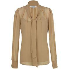 Staple fall/winter piece- tie neck sheer blouse! L.K. Bennett Cordua Silk Blouse