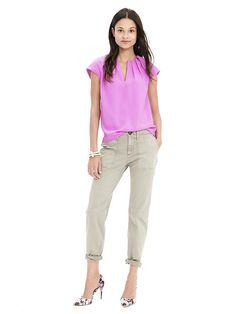 Pleated Crepe Blouse Product Image