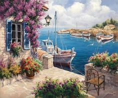 Paint by numbers kit Painting DIY At dawn inch Decor Idea Gift – Cross Stitch Kits Beaded Embroidery Kits Gobelin Kits – Join in the world of pin Landscape Art, Landscape Paintings, Mediterranean Paintings, Mediterranean Art, Canvas Frame, Canvas Art, Sailboat Painting, Paint By Number Kits, Art Pictures