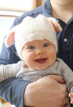 Babymütze Strickanleitung Lamm / weiße Babylamm / Lamm Baby