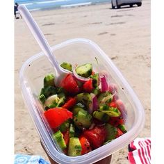 Went to the beach with my family, everyone was eating deep fried fish and chips. If you have been following me for a while you would know I've never liked deep fried food! It literally makes me feel like I want to vomit!! So I took this to the beach instead. it's so simple!! My grandpa gave me some home grown tomatoes, then I just cut up cucumber, red onion and put oregano, vinegar, olive oil and lemon juice - opened a can of tuna and threw it in there too! #workout #gym #kaylaitsines