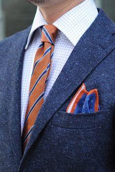 homespun jacket,tattersall check shirts,regimental tie  and chuef