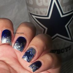 I was too busy watching the game to post these earlier (was that an awesome game or what). They look much much better IRL though.  Might post a close up later  #cowboysnation #dallasfansincebirth! #dallascowboysnails