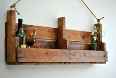 Rustic Hand Crafted from Reclaimed Wood Shelf - Wine Rack - Large Natrural Wooden Shelf - Book Shelf - Rustic Rope - Country - Made to Order Wine Shelves, Pallet Shelves, Rustic Shelves, Wine Storage, Wooden Shelves, Wood Shelf, Dyi, Rustic Wine Racks, Pallet Wine