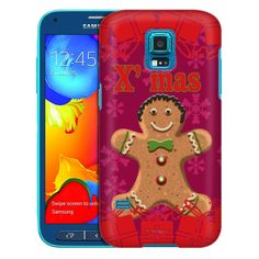 Samsung Galaxy S5 Sport Xmas Gingerbread Man on Red Trans Case