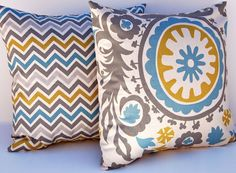 Decorative Throw Pillow Covers 20 x 20 Inches Accent Pillows Cushion Covers in Suzani Blue Gray. $34.00, via Etsy.