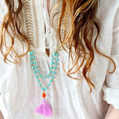 Aqua Bead Strand and Tassel Necklace Lilac by NestPrettyThingsShop, $42.00