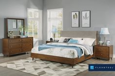 This bed features a square, upholstered headboard in a silt color fabric. Bedroom Panel, King Bedroom Sets, Morris Homes, Flexsteel, Homemakers Furniture, Furniture, Flexsteel Furniture, King Platform Bed, Upholstered Bedroom