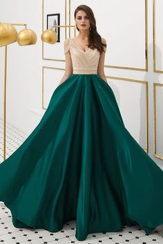 Beaded Green Satin Long Prom Dress with Cold Sleeves - Prom Dresses Design Long Prom Gowns, Prom Dresses 2017, A Line Prom Dresses, Cheap Prom Dresses, Formal Evening Dresses, Elegant Dresses, Sexy Dresses, Beautiful Dresses, Fashion Dresses