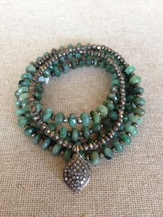 Emerald and Pyrite Necklace with Pave Diamond Pendant